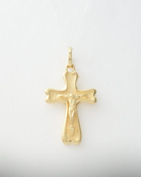 14k cross with jesus and fancy back sml