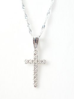 14k diamond cross and singapore chain
