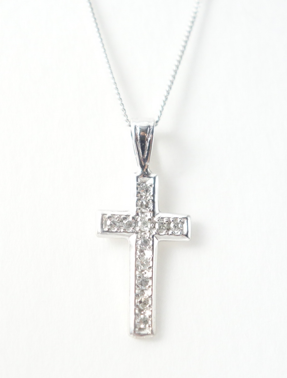 14k diamond cross