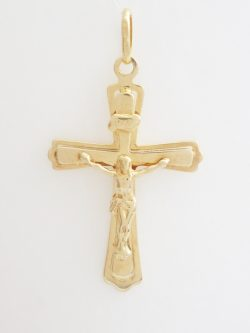 14k flat 2 crosses with jesus lrg