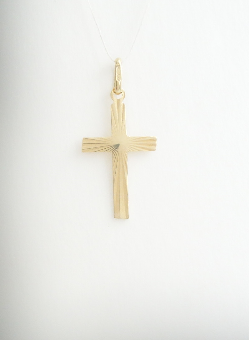 14k flat sparkle cross sml