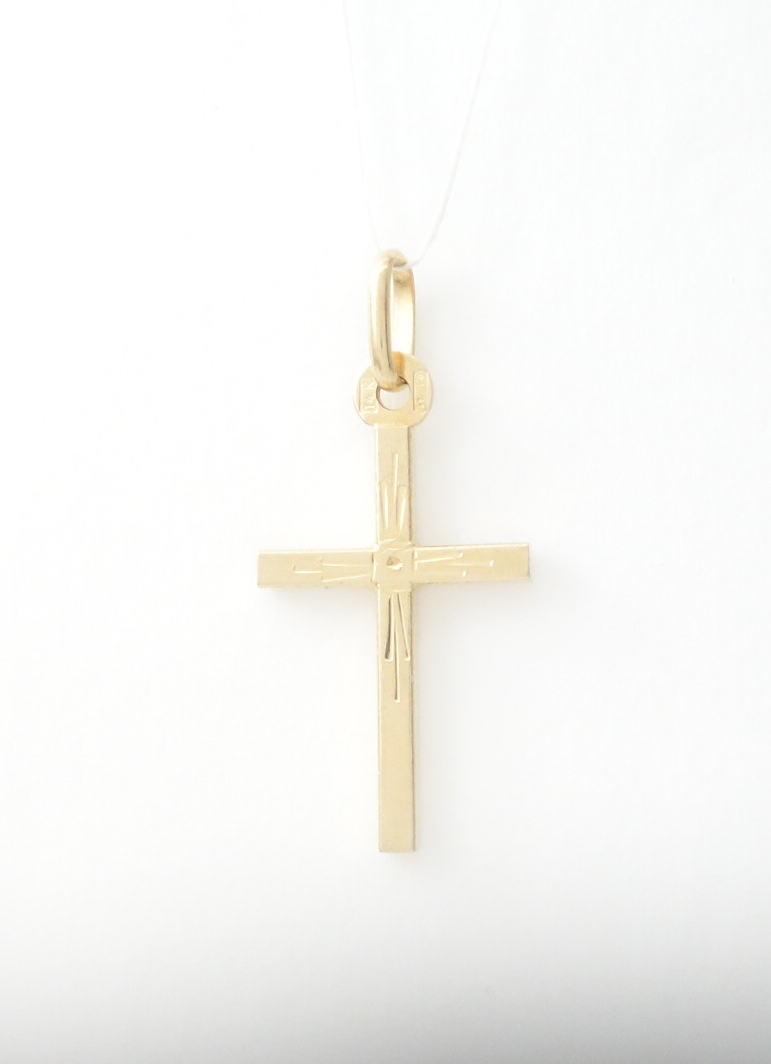 14k hollow box cross sml