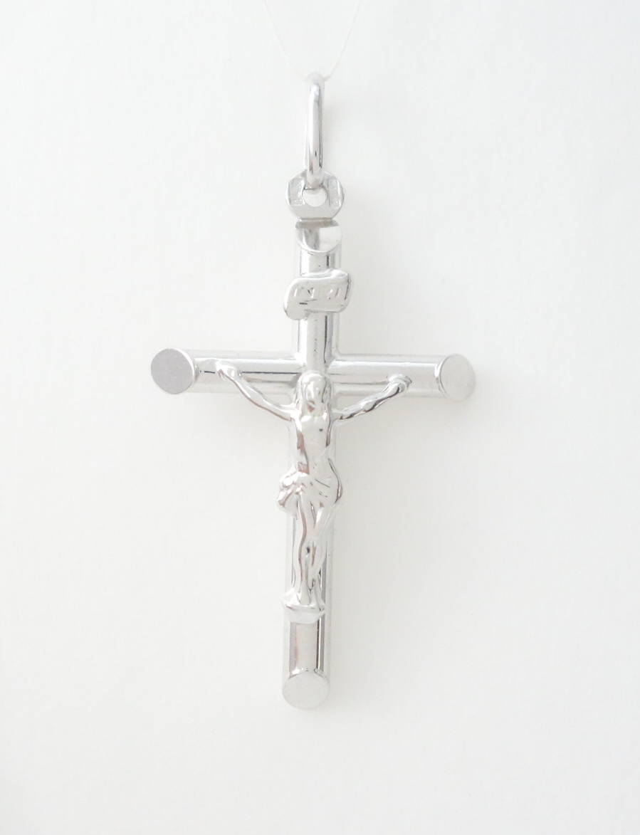 14k hollow white gold cross with jesus med