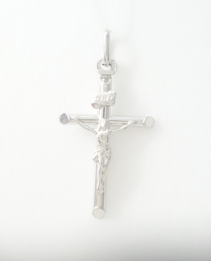 14k hollow white gold cross with jesus sml
