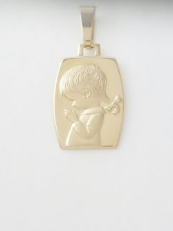14k praying girl medal