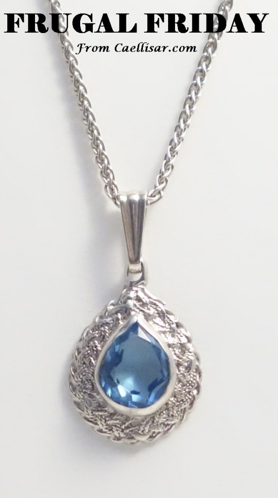 ff sterling silver blue stone teardrop charm and chain