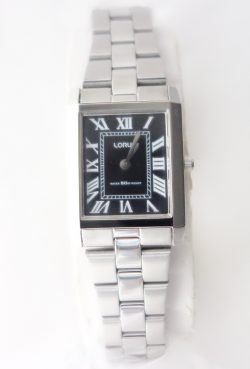 ladies lorus black dial and roman numerals watch