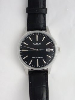 mens lorus black dial and leather strap watch