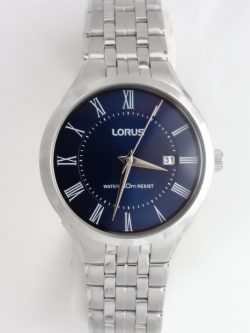 mens lorus blue dial watch with silver toned bracelet