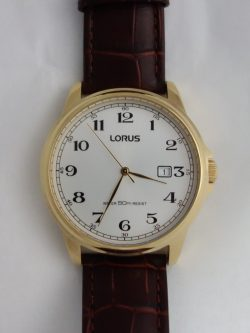 mens lorus large dial watch with leather strap