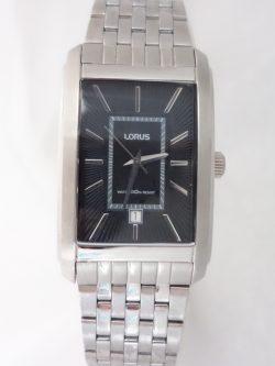 mens lorus rectangular silver toned watch