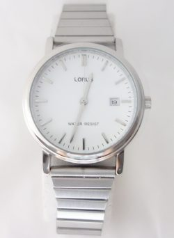 mens lorus silver toned expansion bracelet watch