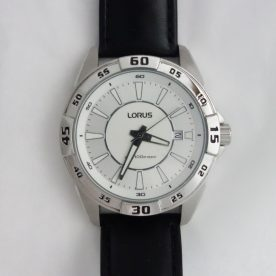 mens lorus white dial watch with leather strap