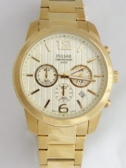 mens pulsar yellow toned watch