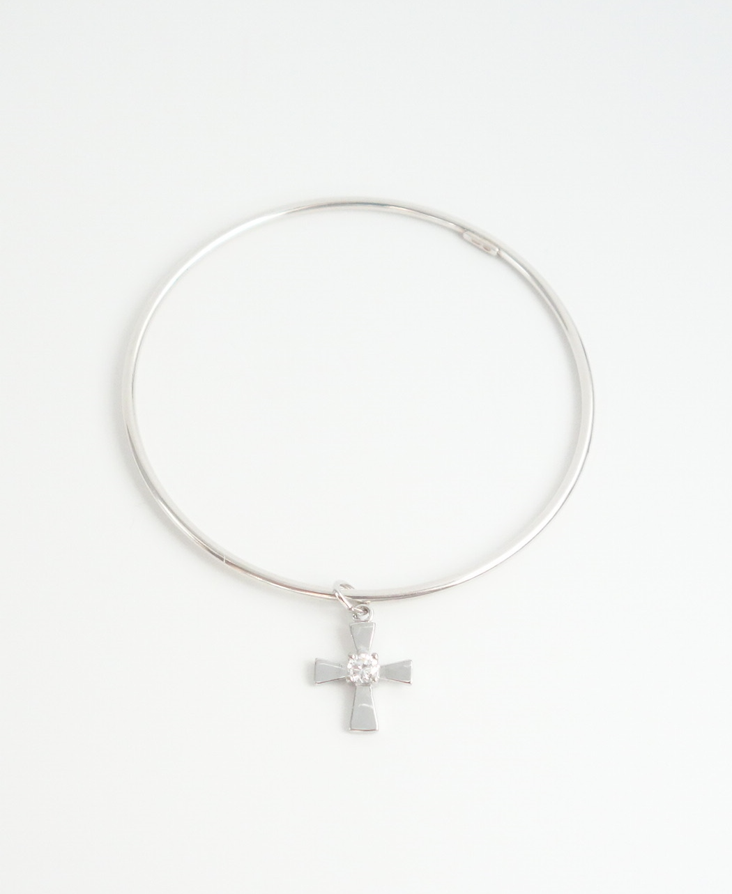 sterling silver bangle with cross charm