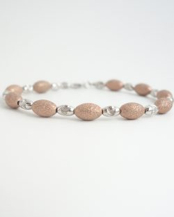 sterling silver beaded bracelet with coral sandblasted beads