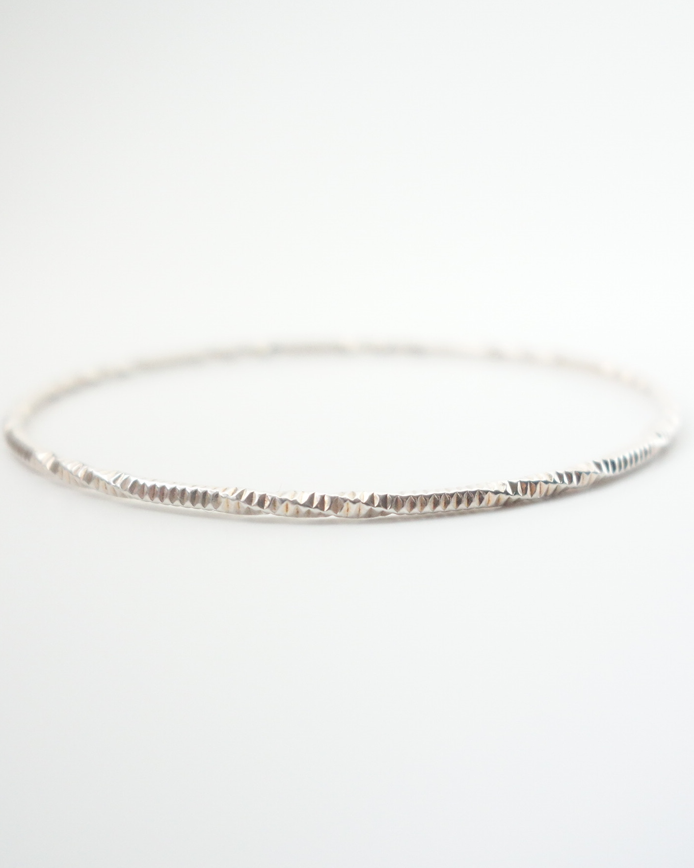 sterling silver fancy bangle side view