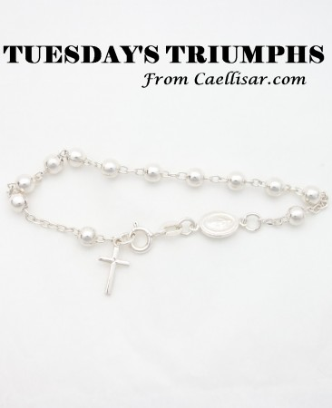 tt sterling silver rosary bracelet with big beads