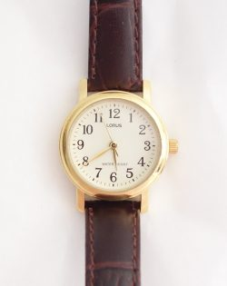 womens lorus white dial brown leather strap