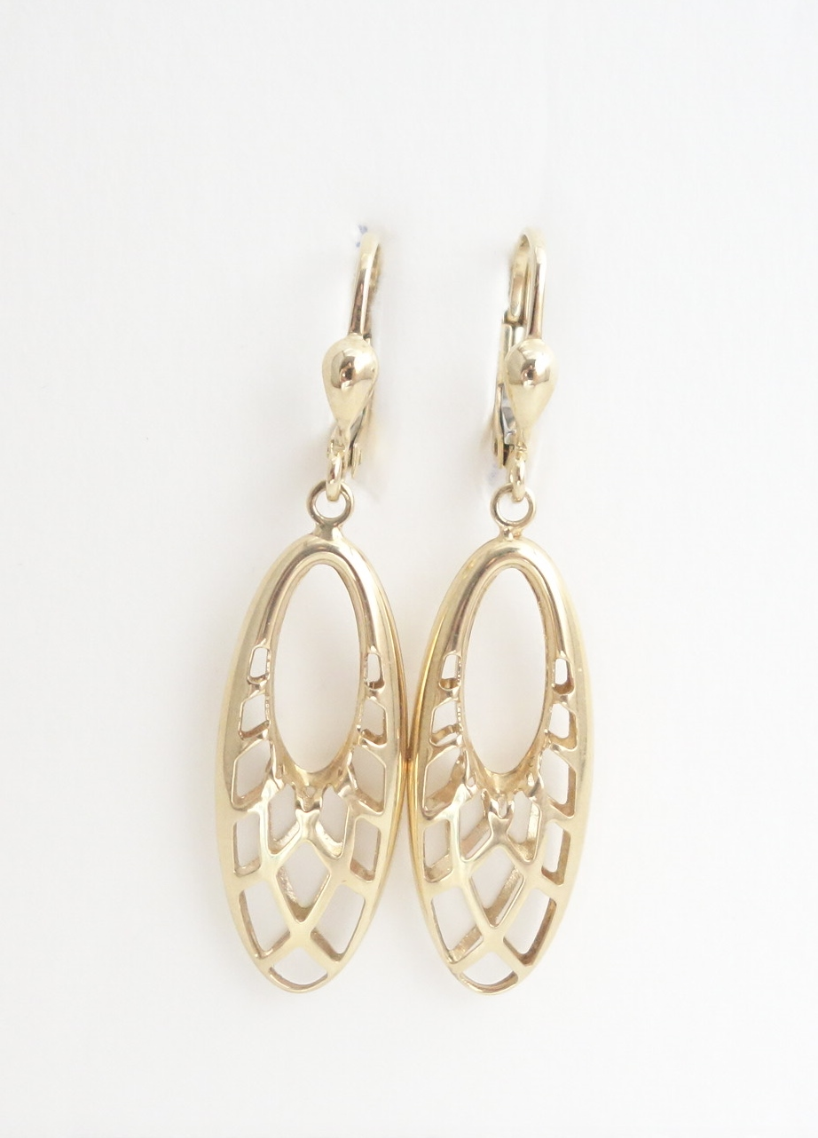 10k yellow gold oval drop earrings