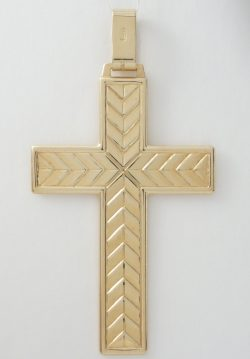 14k flat cross with lines