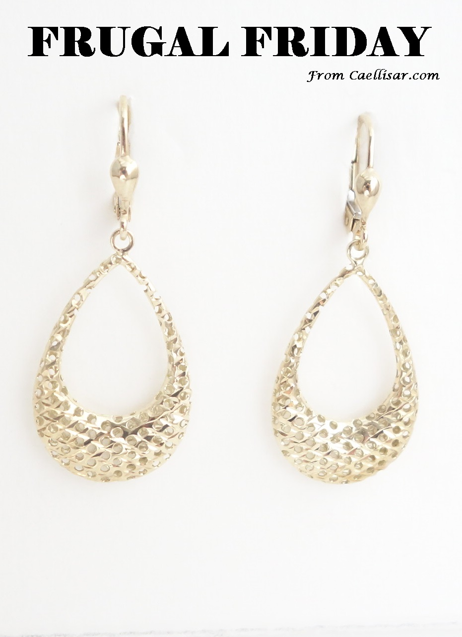 ff 10k yellow gold drop earrings