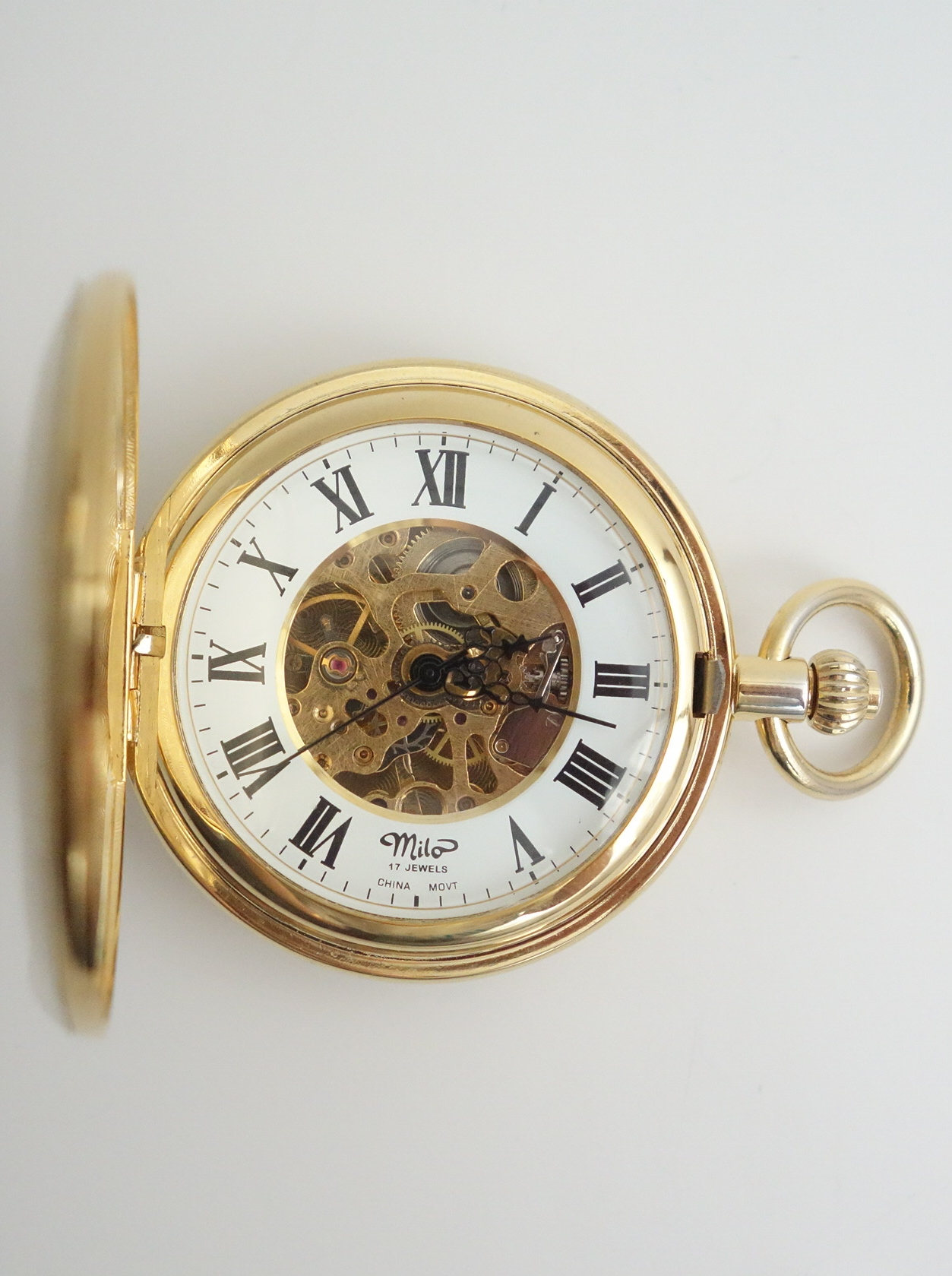 mechanical pocket watch front open