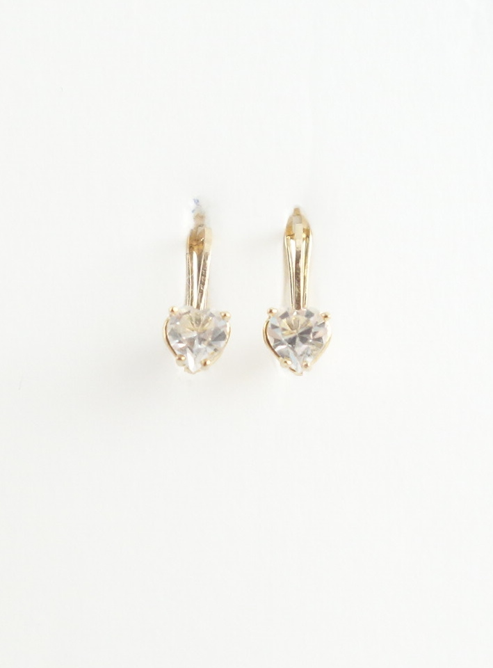 10k earrings with heart shaped white stones