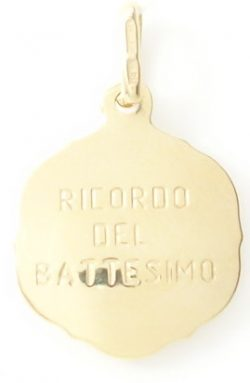 14k hollow baptism medal med back