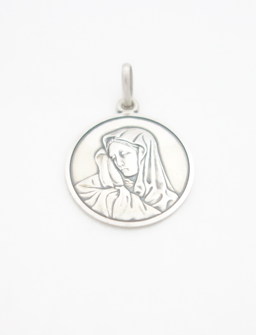 sterling silver solid madonna medal XXX lrg