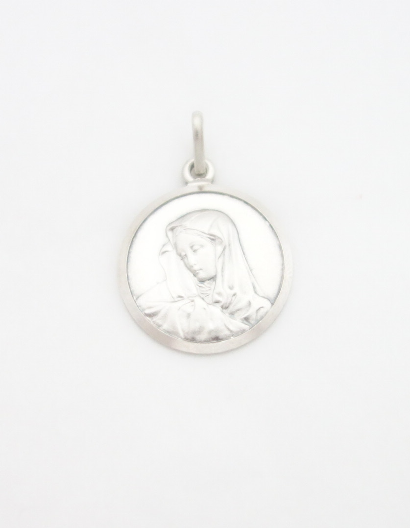 sterling silver solid madonna medal extra lrg