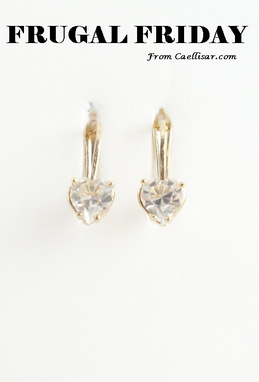 ff 10k earrings with heart shaped white stones