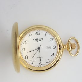 gold tone pocket watch with date