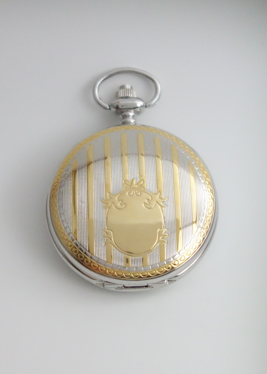 two tone pocket watch closed
