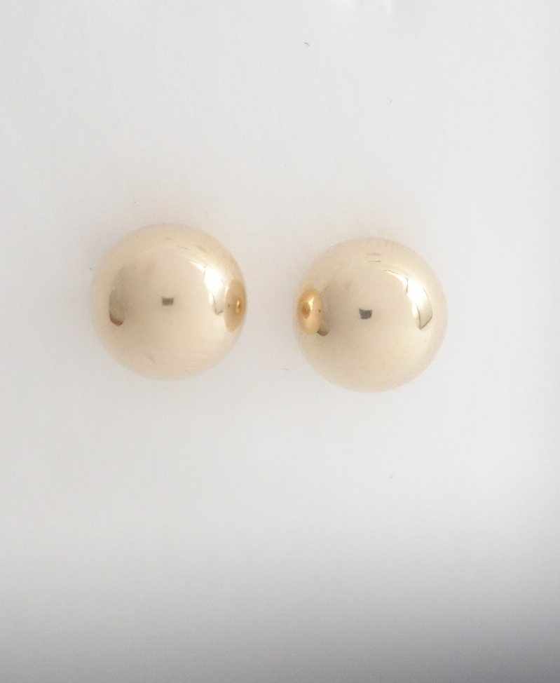 14k bead earrings 8mm