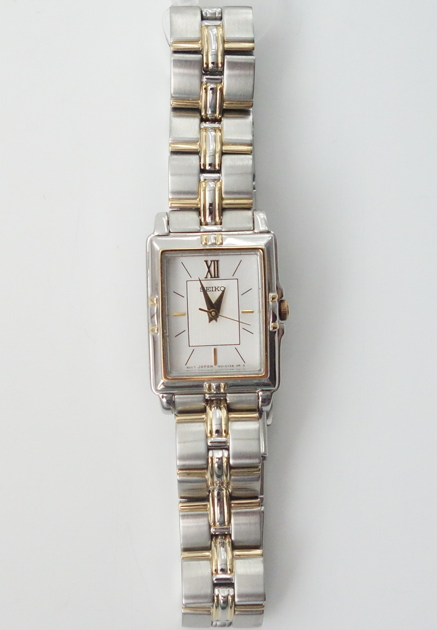 ladies two tone rectangular seiko watch