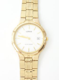 mens lorus yellow tone watch with date