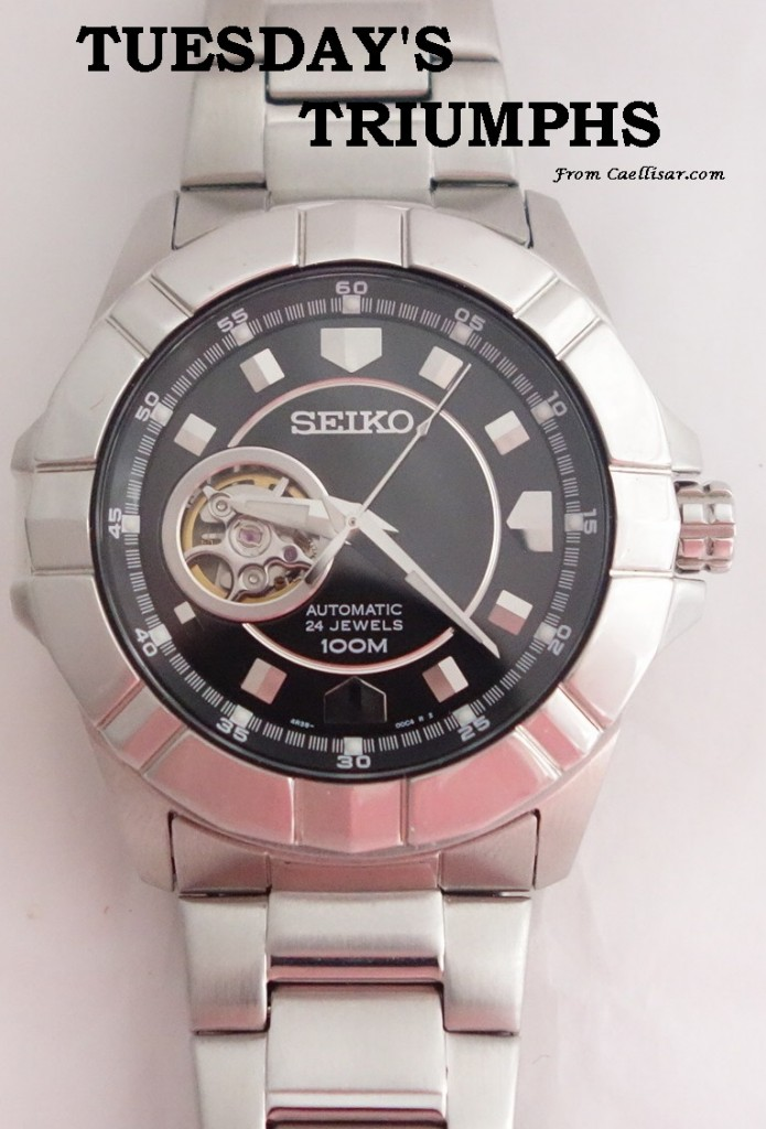 tt mens seiko black dial silver toned automatic watch