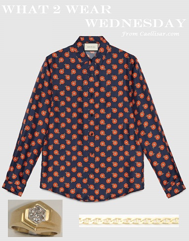 gucci Light-Floral-print-silk-duke shirt