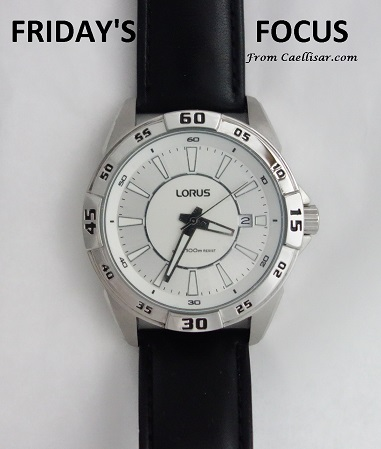ff mens lorus white dial watch with leather strap