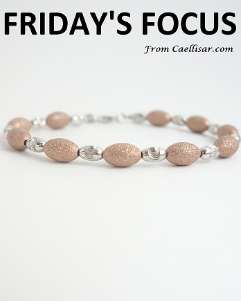 ff sterling silver beaded bracelet with coral sandblasted beads