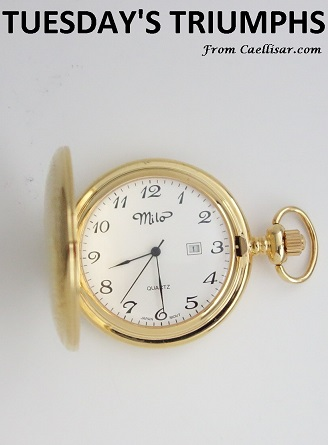 tt gold tone pocket watch with date