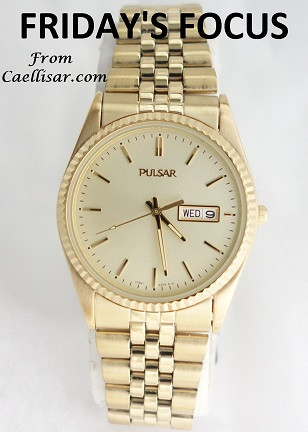 ff mens pulsar yellow toned watch
