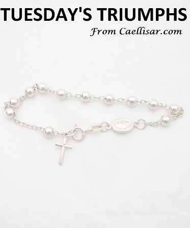 12.tt sterling silver rosary bracelet with big beads
