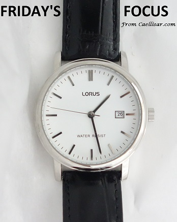mens lorus white dial leather strap watch