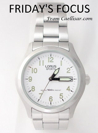 mens lorus lumibrite silver tone watch