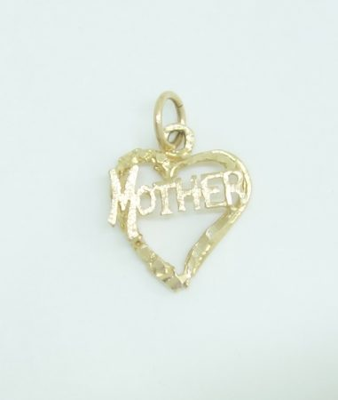 10k mother in heart charm